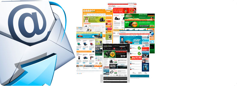 Picture of a few e-mail marketing templates.