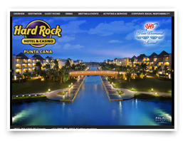 An online brochure for the Hard Rock Hotel brand