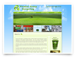 A web design for a recycling company
