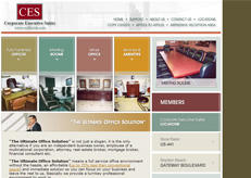 Corporate Executive Suites website, a design by Intechcenter now offline.