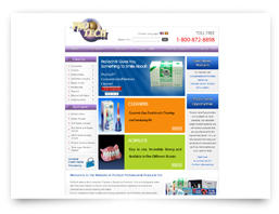 Custom web design for a company which sells dental products